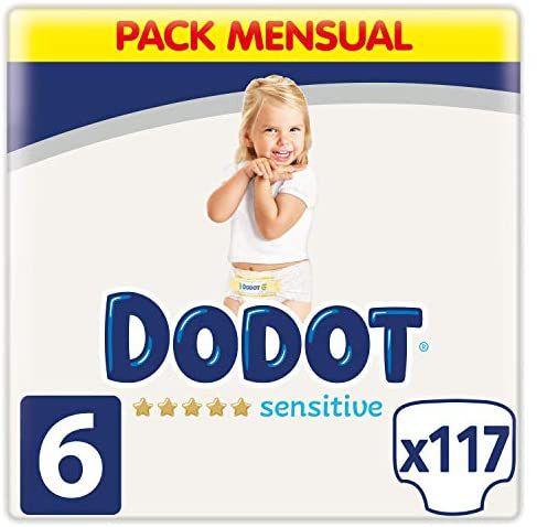 Dodot Pañales Bebé Sensitive Talla 6 (+13 kg), 117 Pañales, Óptima Protección de la Piel de Dodot, Pack Mensual (Compra recurrente)