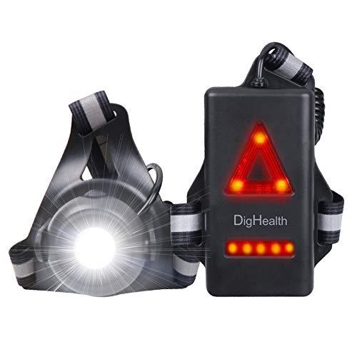 DigHealth Luz para Correr, 3 Modos LED Luz de Pecho Recargable USB Impermeabl con Luz de Advertencia de Seguridad