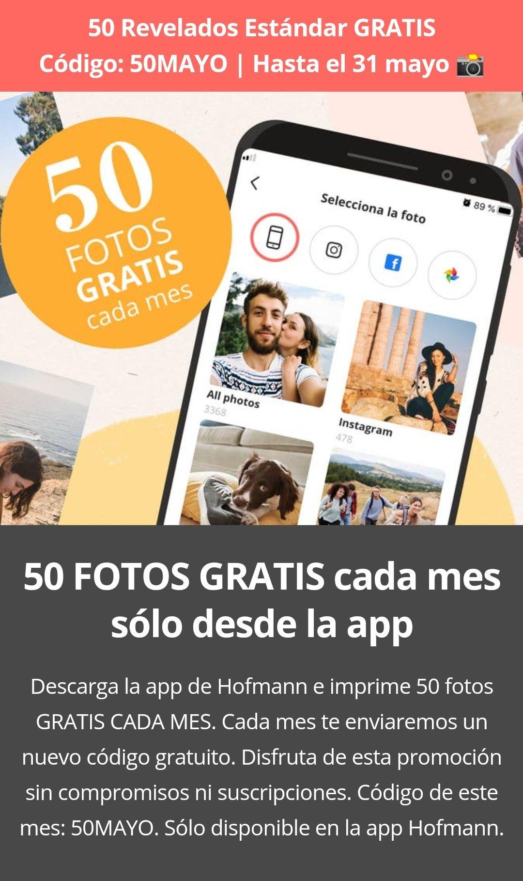 50 Revelados Estándar solo pagando los gastos de envío (4€). Hasta el 31 mayo