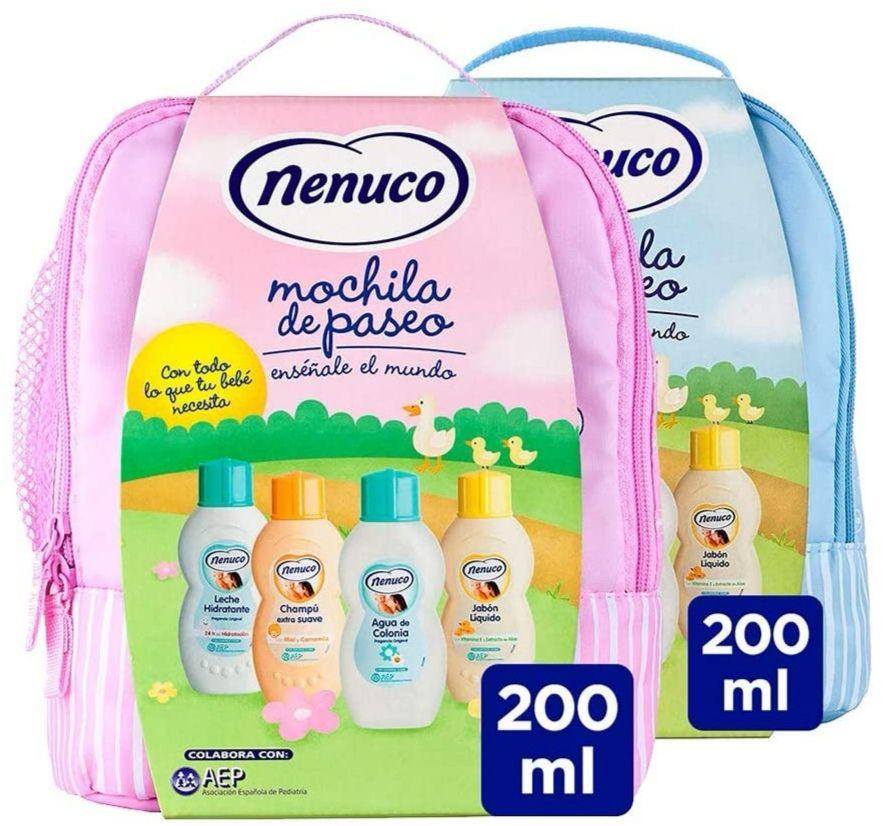 Nenuco Pack Bebé Mochila Paseo: Colonia + jabón + champú + leche hidratante [Azúl o Rosa]