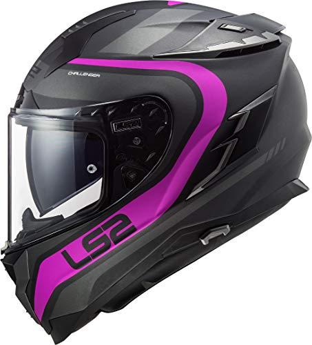 LS2 - Casco integral para moto, modelo Challenger Fusion mate, titanio, rosa, (Talla L)