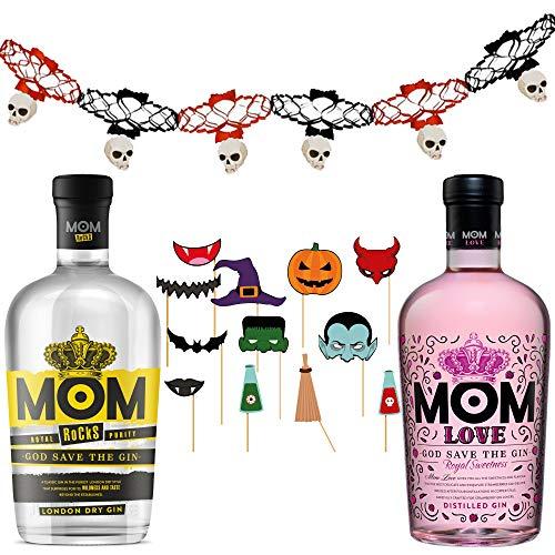 Ginebras Mom Love + Mom Rocks - Pack de Fiesta - 2 botellas de 700ml + guirnaldas y accesorios photocall