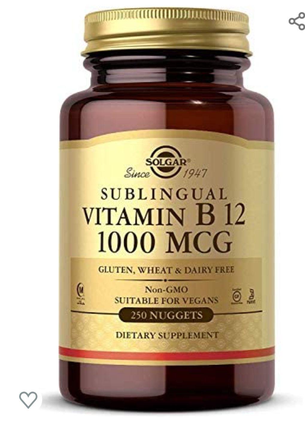 250 unidades Solgar Comprimidos Masticables Sublinguales Vitamina B 12 100 Mcg