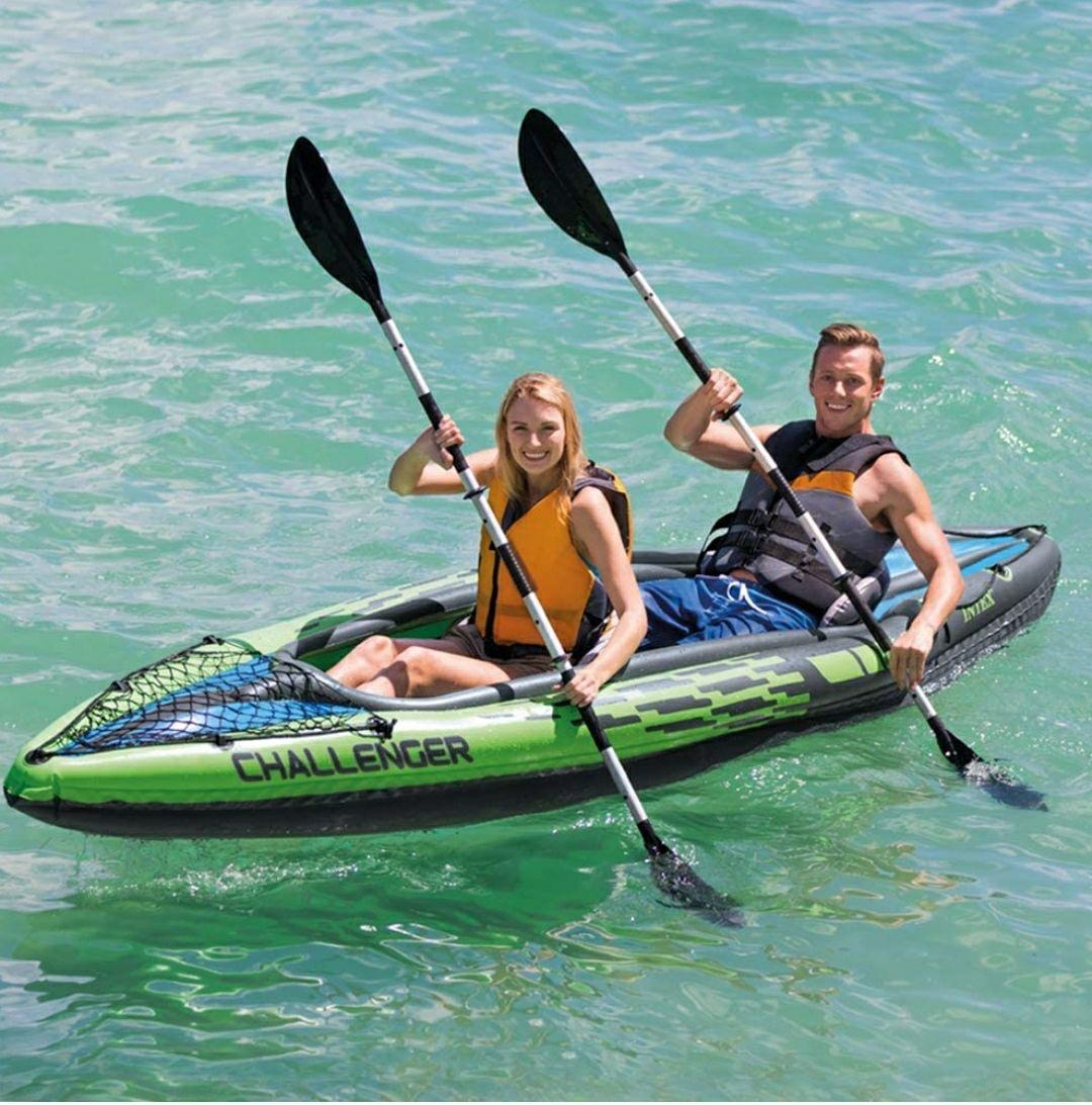 Kayak hinchable Challenger K2 con 2 remos, 351 x 76 x 38 cm