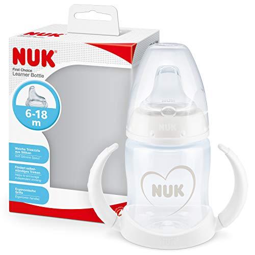 NUK First Choice+ vaso antiderrame bebé, 6-18 Meses, Boquilla de Silicona a Prueba de Fugas, Anticólico, Sin Bpa, 150 M