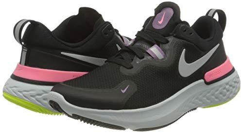 Nike React Miler, Running Shoe Mujer, Black/Metallic Silver-Violet Dust-Sunset Pulse-Cyber-Photon Dust