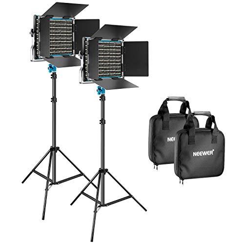 Neewer 2 Packs 660 LED Luz Video y Fotografía Soporte Kit Iluminación Panel LED Intensidad Regulable