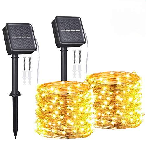 Pack de dos luces solares de 12 metros 120 leds.