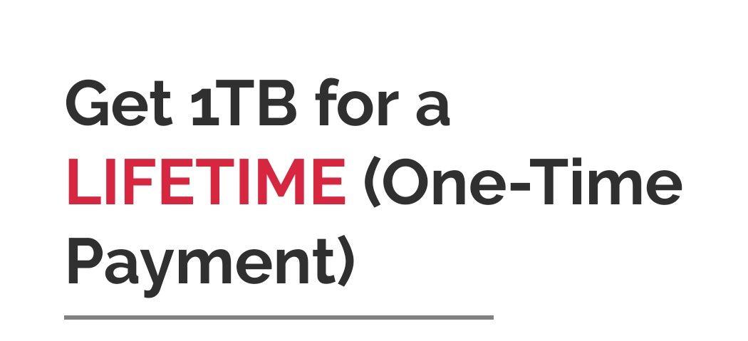 1 TB de almacenamiento en la nube de por vida por 36,29€