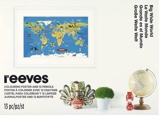 Reeves - Póster para colorear Mapa del mundo + 12 lápices