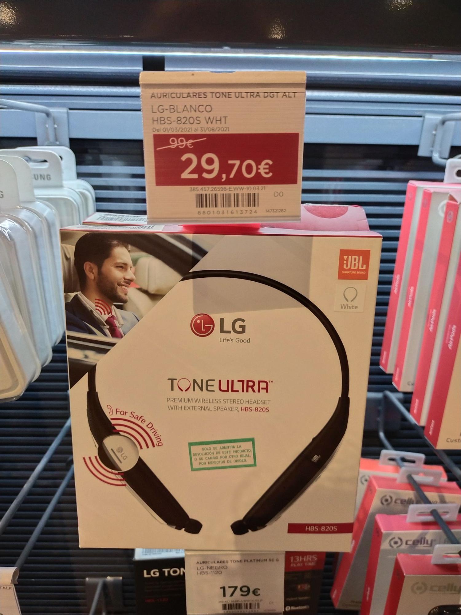 Auriculares LG Tone Ultra DGT en Hipercor Valencia