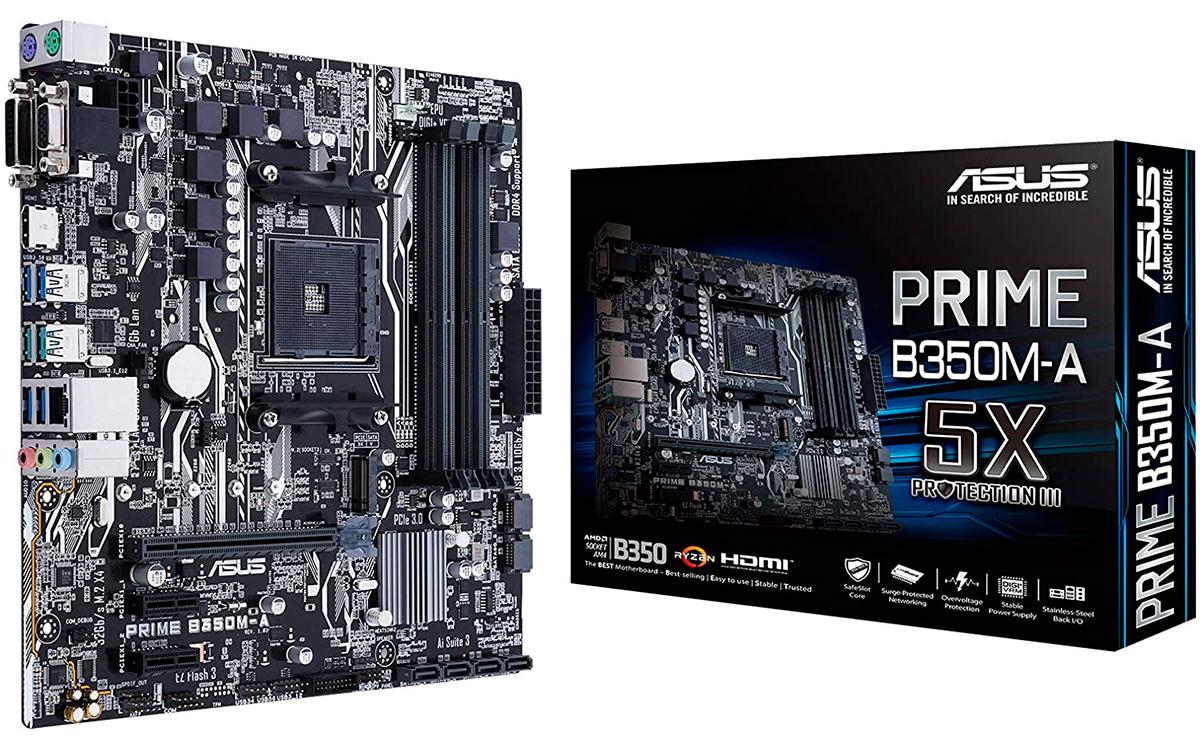 Placa base uATX Gaming Asus PRIME B350M-A con iluminación LED