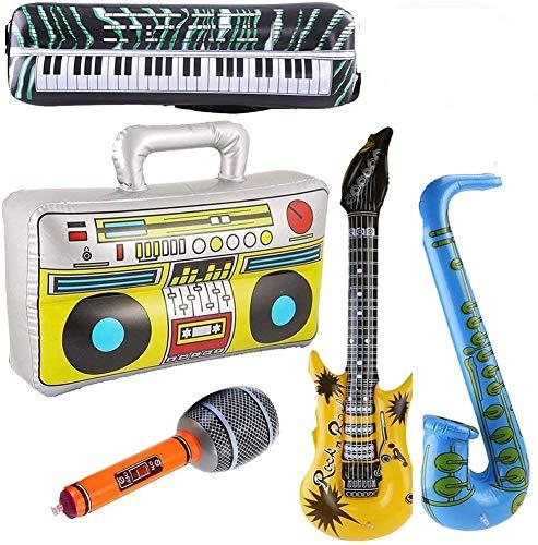 5 UNIDS Inflables Guitarra Saxofón Micrófono Boom Box Instrumentos Musicales