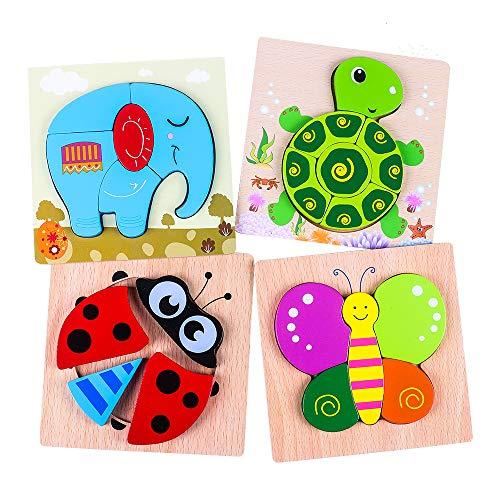 (4 Piezas) Puzzles de Madera, Rompecabezas de Animales para Niños Niñas