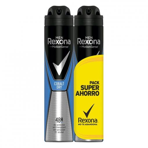3X2 Desodorante en spray Cobalt Blue anti-transpirante Rexona pack de 2 unidades de 200 ml.