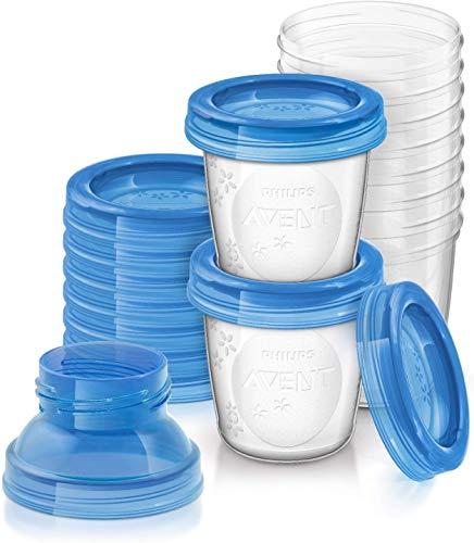 Set de recipientes para leche materna (10 recipientes + 10 tapas + 2 adaptadores)