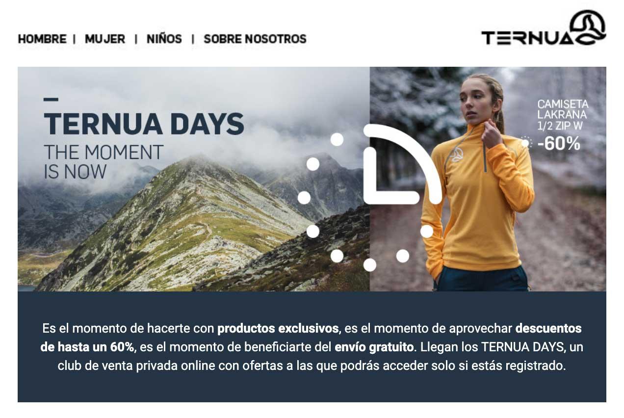 TERNUA DAYS - Descuentos de 45%, 50% y 60% con envío y devolución gratuitos