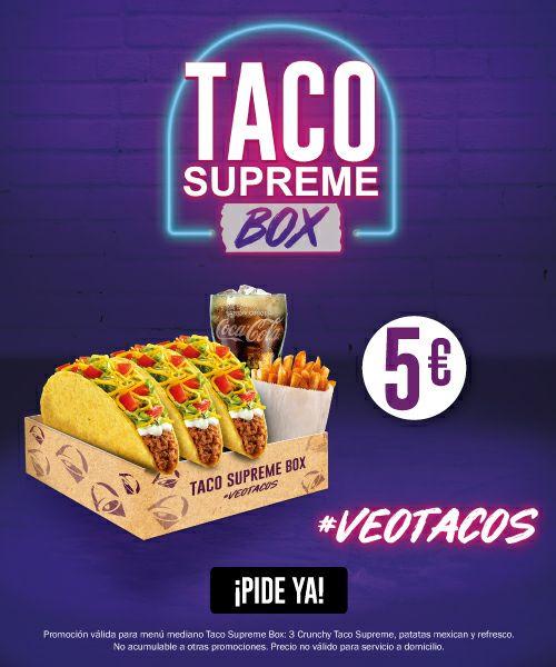 Menú 3 tacos Crunchy Supreme + patatas y bebida por 5€