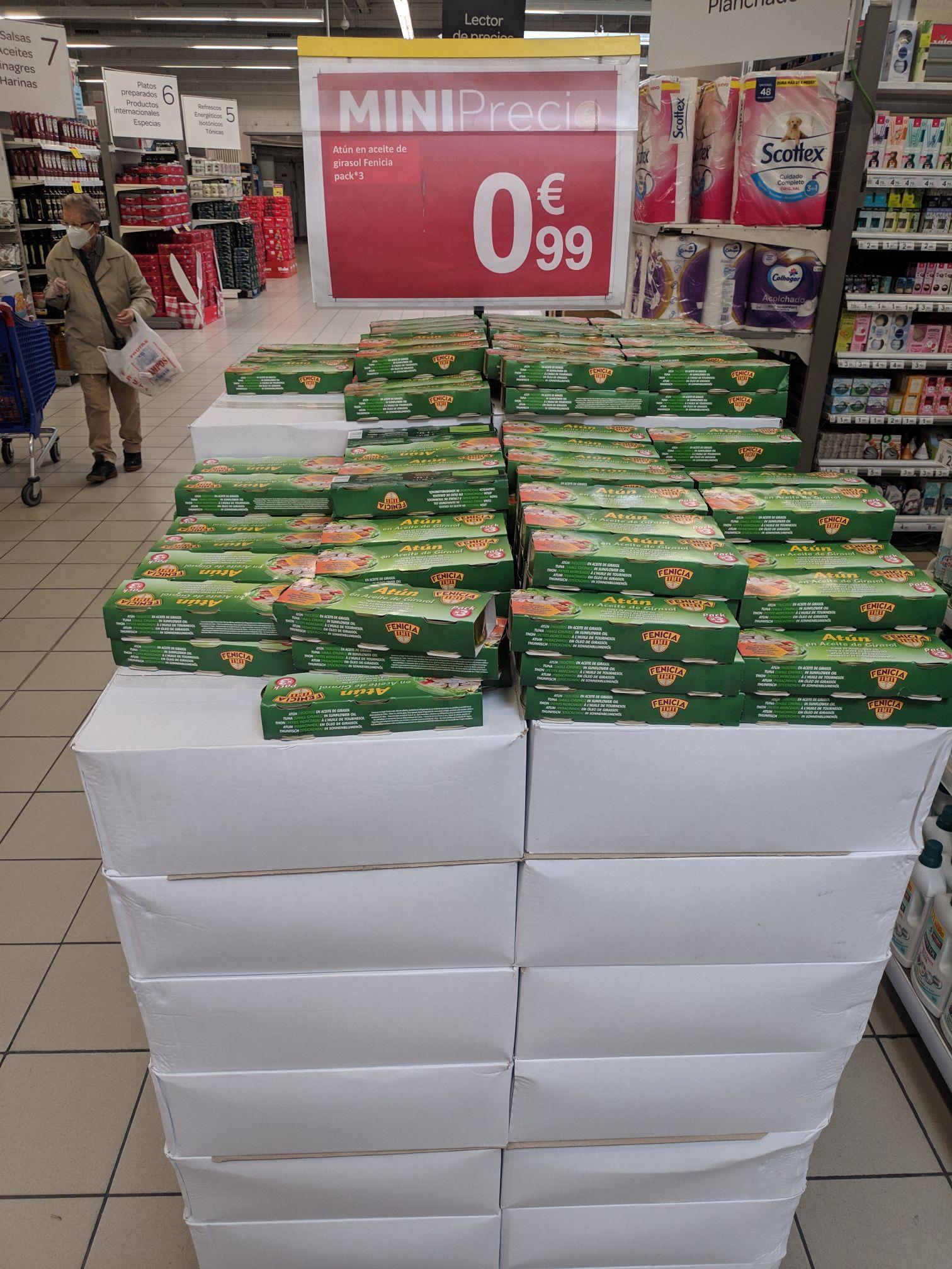 3 latas de atún en aceite de girasol en Carrefour Valdelasfuentes