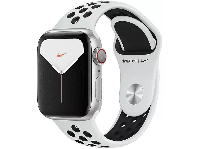 Apple Watch Nike Series 5, Chip W3, 40 mm, GPS + Cellular, Caja aluminio plata, Correa Nike platino y negro