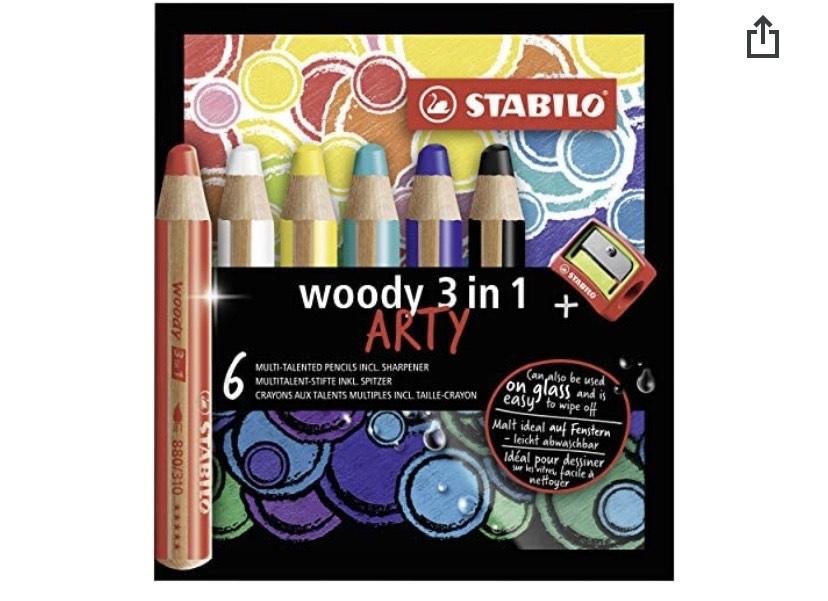 Lápiz de color multitalento STABILO woody 3 en 1 ARTY - Estuche con 6 colores y sacapuntas