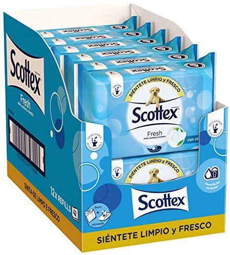 Scottex Fresh Papel Higiénico Húmedo - 12 packs x 40 (480 unidades) compra recurrente