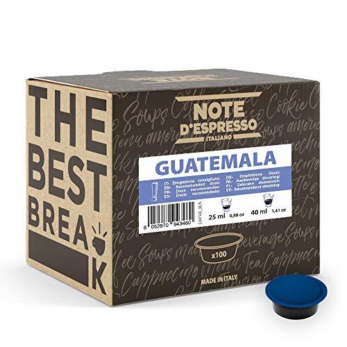 Note d'Espresso - Cápsulas de café para las cafeteras Lavazza y A Modo Mio, Guatemala, 100 unidades de 7 g