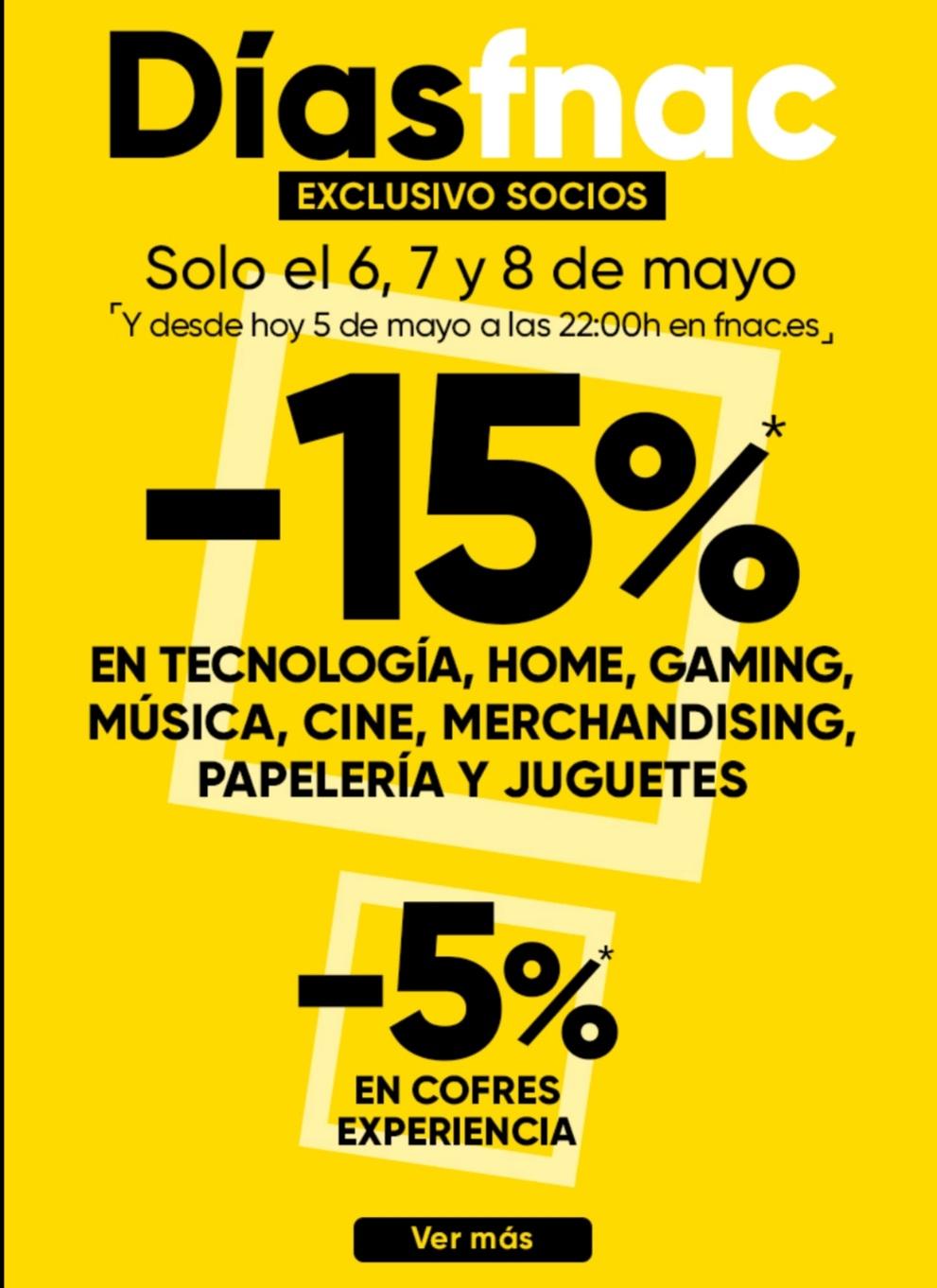 Días del socio en Fnac con el 15% de descuento en varias secciones del 5 al 8 de mayo