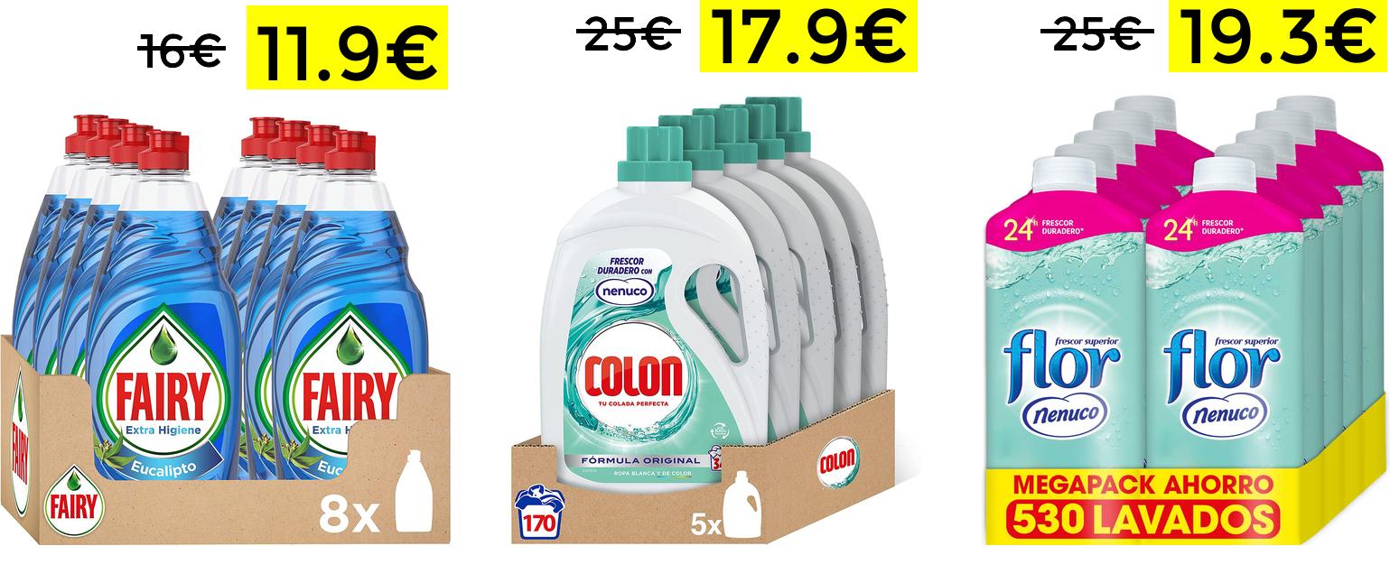 Preciazos en packs Fairy, detergente Colon y suavizante Flor