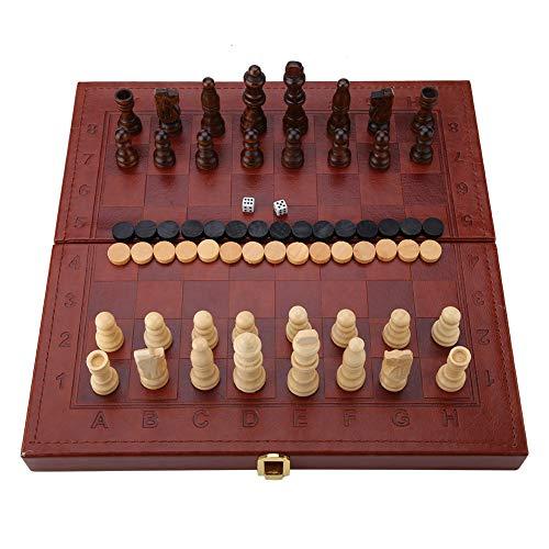 Juego de ajedrez de Madera 3 en 1, Damas y Backgammon.