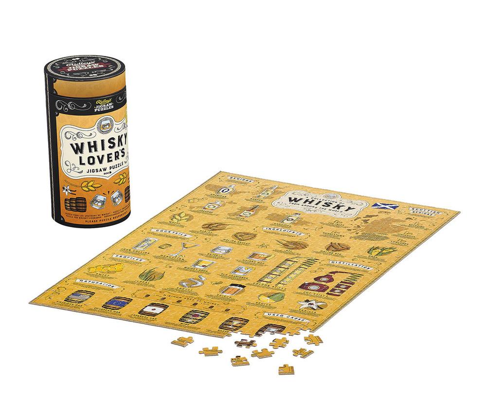 Puzzle (Tubo + Póster Guía) para los amantes del Whiskey - 500 piezas con ilustraciones hechas a mano