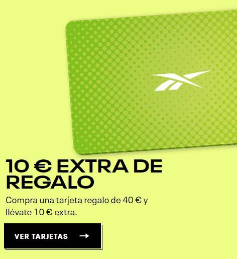 10€ Tarjeta regalo Reebok con la compra de una tarjeta regalo Reebok de 40 €