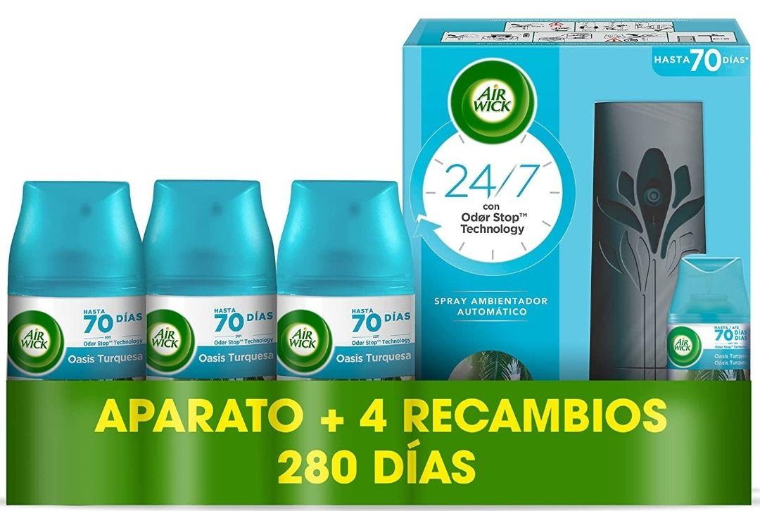 Air Wick Freshmatic - Spray automático, aroma a Oasis Turquesa - 1 aparato y 4 recambios