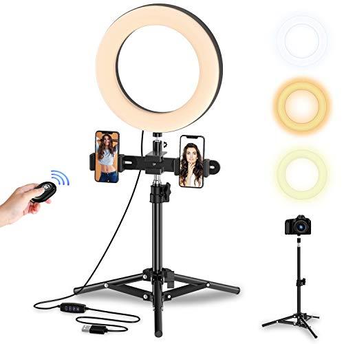 Anillo de Luz LED con Trípode Alto y Extensible104 Bombillas, Control Remoto Bluetooth