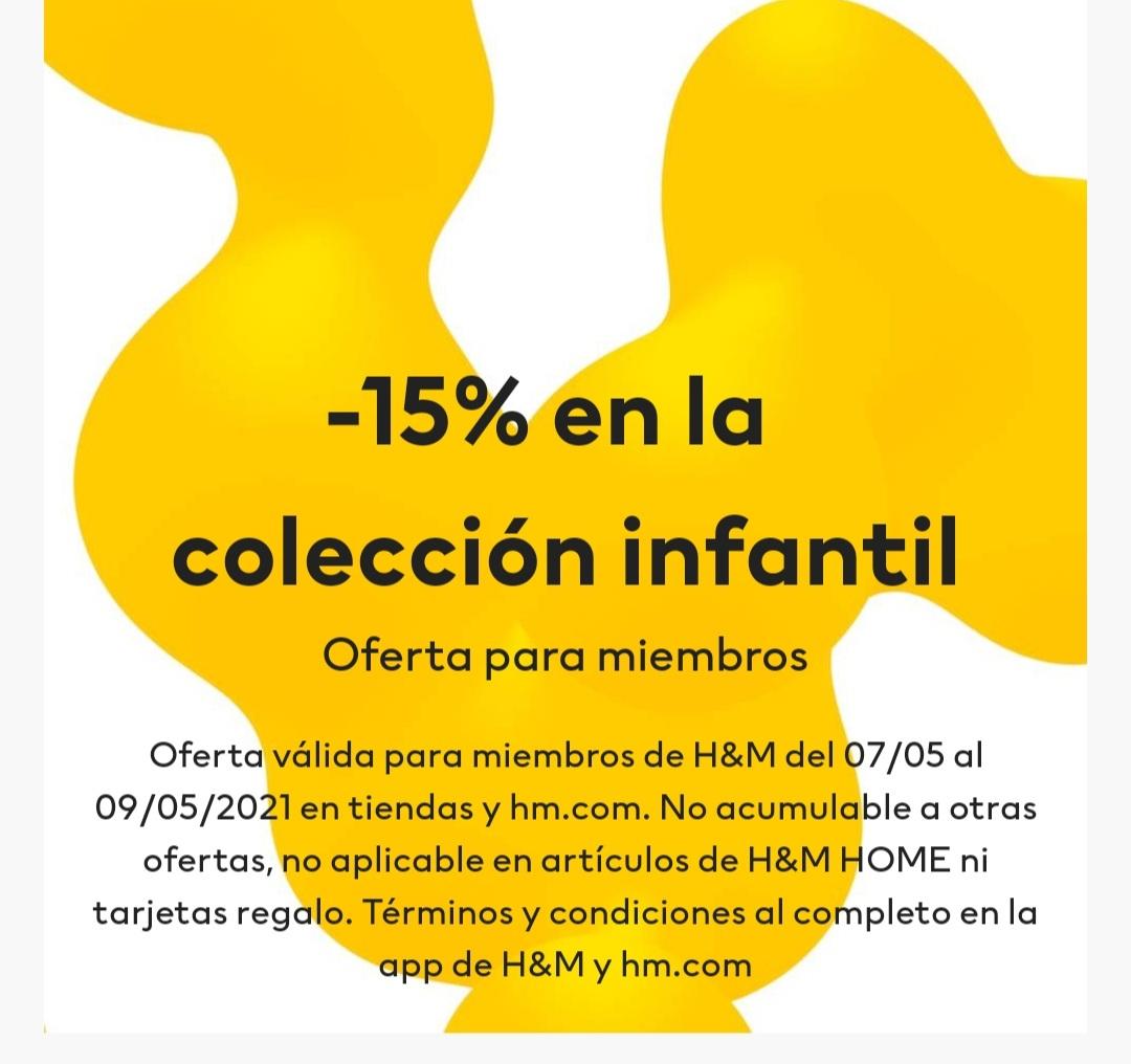 H&M 15% de descuento en la sección infantil solo para miembros del club H&M