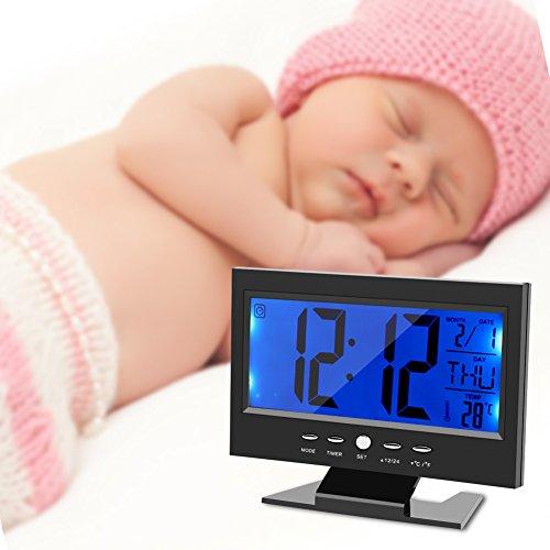 Despertador Digital, Gran pantalla LCD, con luz nocturna inteligente