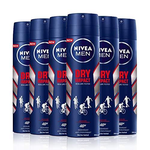 NIVEA MEN Dry Impact Spray, pack de 6 x 200 ml