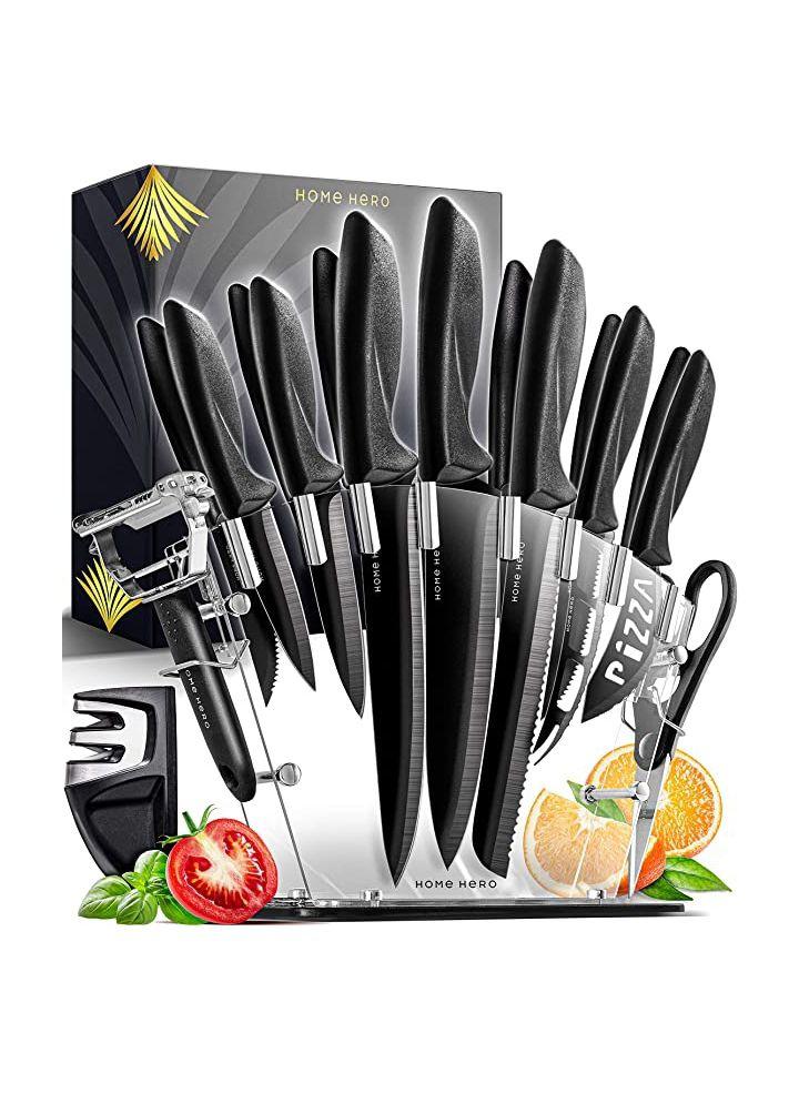 Juego de 13 cuchillos con soporte + tijeras de cocina + pelador + afilador de cuchillos