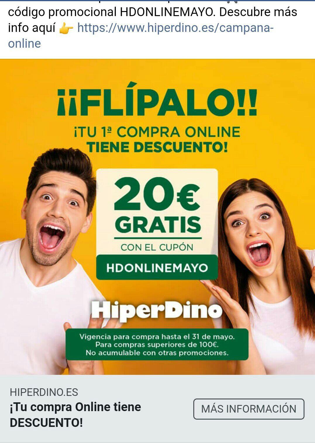 Descuento de 20€ en tu primera compra online SUPERIOR a 100 €. Catálogo y Promociónes MAYO