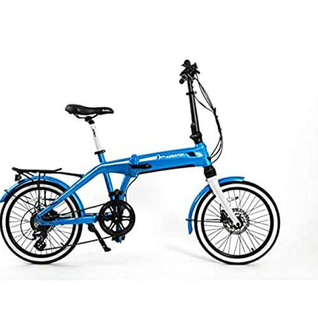 "Aurotek Sintra Bicicleta Eléctrica Plegable de 20"", Adultos Unisex, Ocean Blue, Mediano"