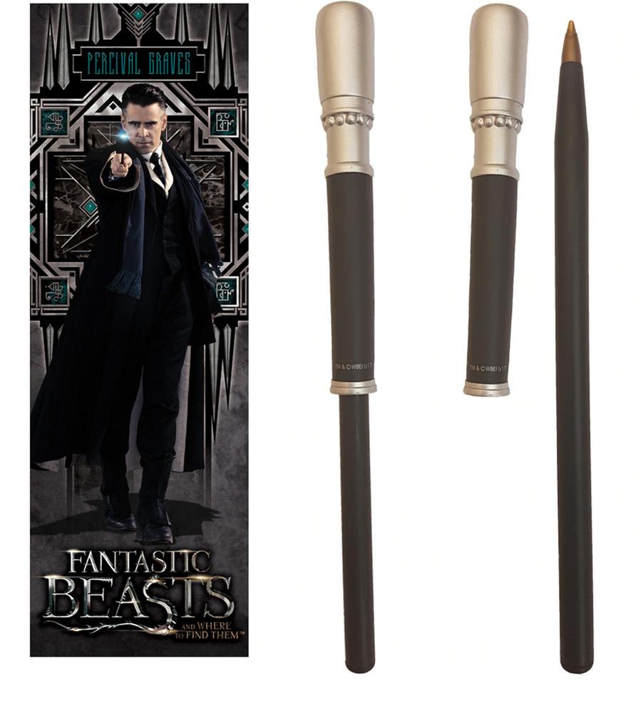 Varita/Bolígrafo de Harry Potter Animales Fantásticos y dónde encontrarlos Percilval 23 cm + Punto de Libro