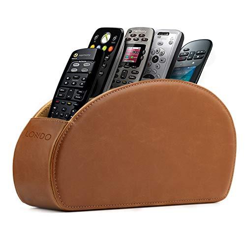 Soporte para Mando a Distancia con 5 Bolsillos, Color marrón Claro, Cuero