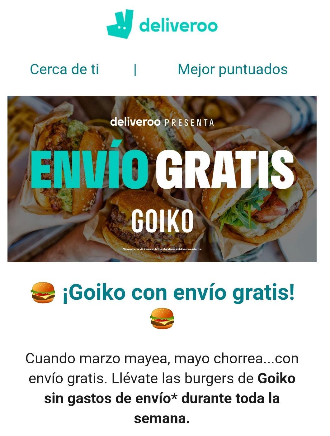 Envío gratis en Goiko con Deliveroo