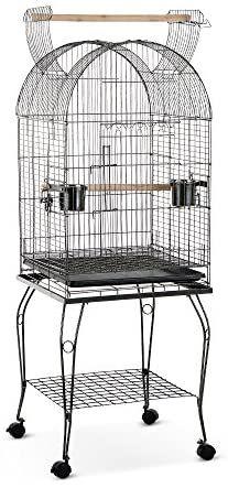 IKAYAA Jaula de Metal Casa para pájaros en Movimientocon Tazon de Acero Inoxidable