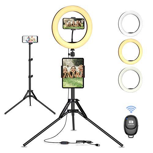 Anillo de luz con trípode extensible para fotografía
