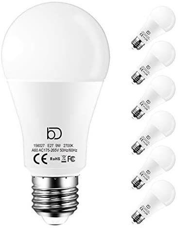 Pack 6 bombillas led E27 de Luz Cálida, Neutra o Fría de 9W