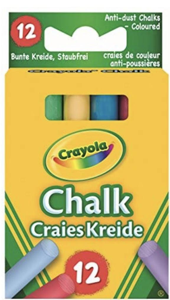 Crayola - 12 Tizas De Colores Antipolvo