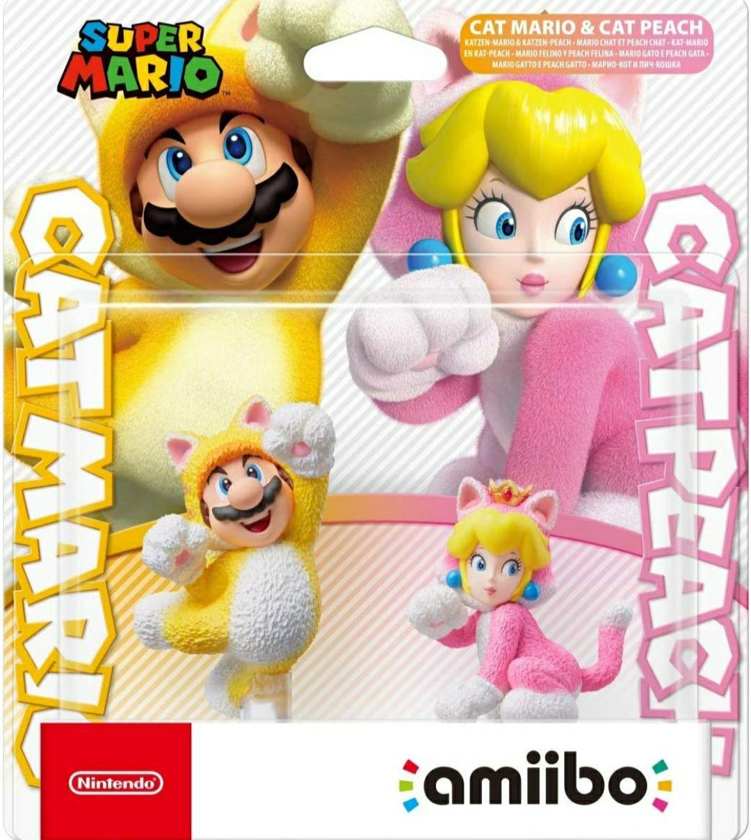 Pack de amiibos Mario y Peach felinos.