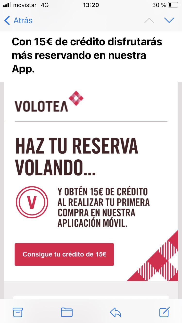 15€ de cashback en Volotea