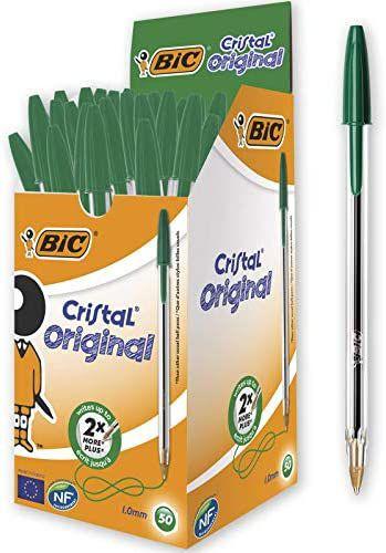 BIC Cristal Original - Caja de 50 unidades, bolígrafos punta media 1.0 mm, color verde